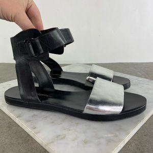 3.1 Phillip Lim Black Leather Silver Flat Sandals